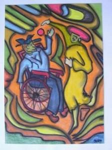 Tanz im Rollstuhl, Gemälde von Hermann Reers